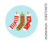 knitted socks with a deer and a ... | Shutterstock .eps vector #1182714673