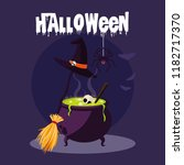 halloween card with witch... | Shutterstock .eps vector #1182717370