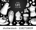 coffee cups  beans and coffee... | Shutterstock .eps vector #1182718039