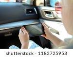 little girl  child sitting in... | Shutterstock . vector #1182725953
