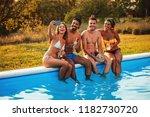 group of friends talking selfie ...   Shutterstock . vector #1182730720