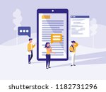 group of people with smartphone ... | Shutterstock .eps vector #1182731296