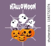 halloween card with ghost and... | Shutterstock .eps vector #1182732376