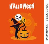 halloween card with pumpkin and ... | Shutterstock .eps vector #1182732403
