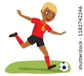 young beautiful black soccer...   Shutterstock .eps vector #1182742246