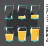 set icons glasses with orange... | Shutterstock .eps vector #1182743356