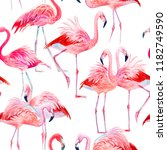 pink flamingo love watercolor... | Shutterstock . vector #1182749590