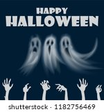 happy halloween hands and... | Shutterstock .eps vector #1182756469