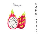 pitaya or pitahaya exotic juicy ... | Shutterstock .eps vector #1182756496