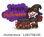 cute cartoon witch with... | Shutterstock .eps vector #1182758140