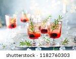 winter berry cocktails made... | Shutterstock . vector #1182760303