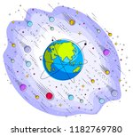 earth in space  our planet in... | Shutterstock .eps vector #1182769780