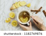 flatlay of healthy drink with... | Shutterstock . vector #1182769876