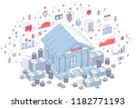 old cartoon bank building with... | Shutterstock .eps vector #1182771193