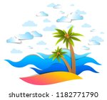 beach with palms  sea waves...   Shutterstock .eps vector #1182771790