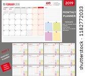 monthly planner 2019  planner... | Shutterstock .eps vector #1182772033