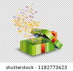green gift box and confetti... | Shutterstock .eps vector #1182773623