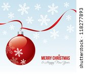 christmas bauble with ribbon | Shutterstock .eps vector #118277893
