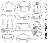 kitchenware coloring book.... | Shutterstock .eps vector #1182779719