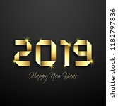 happy new year 2019 text design ... | Shutterstock .eps vector #1182797836