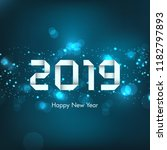 happy new year 2019 text design ... | Shutterstock .eps vector #1182797893