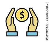 donation line filled icon | Shutterstock .eps vector #1182800569