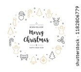 christmas greeting wreath icons ... | Shutterstock .eps vector #1182806779