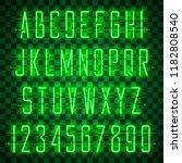 glowing green neon alphabet... | Shutterstock .eps vector #1182808540