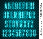 glowing blue neon alphabet with ...   Shutterstock .eps vector #1182808546
