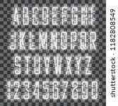 glowing white neon alphabet... | Shutterstock .eps vector #1182808549