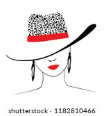 woman in hat with leopard print ... | Shutterstock .eps vector #1182810466