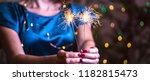 girl holds bengal lights  ... | Shutterstock . vector #1182815473