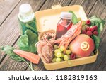 breakfast or lunch with healthy ... | Shutterstock . vector #1182819163