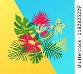 tropical flower composition ... | Shutterstock .eps vector #1182825229