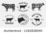 cow emblems. set of 6 cow  beef ... | Shutterstock .eps vector #1182828040