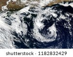 satellite view. hurricane... | Shutterstock . vector #1182832429