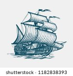 vintage sailing ship. seafaring ... | Shutterstock .eps vector #1182838393