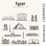 set of hand drawn egypt ... | Shutterstock .eps vector #1182840913