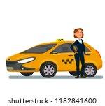girl taxi driver.vector... | Shutterstock .eps vector #1182841600