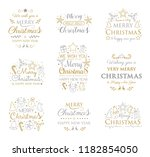 set with christmas ornaments... | Shutterstock .eps vector #1182854050