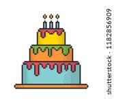 glazed festive cake pixel art... | Shutterstock .eps vector #1182856909