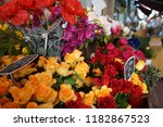 beautiful flowers in market  | Shutterstock . vector #1182867523