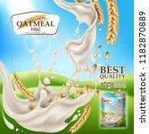 vector realistic oatmeal milk... | Shutterstock .eps vector #1182870889