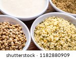 hemp seeds  hearts  milk and... | Shutterstock . vector #1182880909