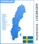 the detailed map of sweden with ... | Shutterstock . vector #1182881809