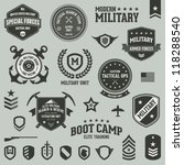 Set of military and armed forces badges and labels logo | Shutterstock vector #118288540