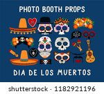 photo booth props for dia de... | Shutterstock .eps vector #1182921196