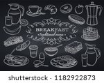 hand drawn set breakfast icons... | Shutterstock .eps vector #1182922873