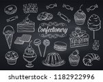 hand drawn set confectionery... | Shutterstock .eps vector #1182922996