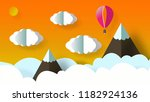 paper art origami   beautiful...   Shutterstock . vector #1182924136